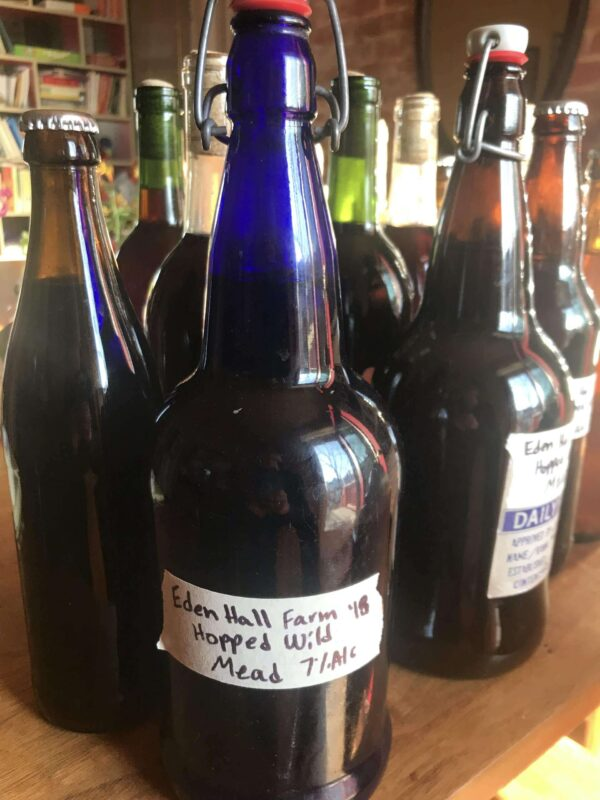 Sideview of Ferment Bottles with Hand-written Labels